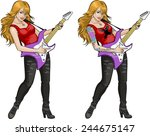 female rock musician with... | Shutterstock .eps vector #244675147