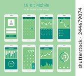 ui kit mobile in flat design