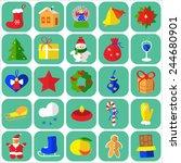 christmas icons flat  graphic