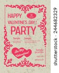 valentine vintage poster | Shutterstock .eps vector #244682329