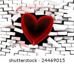 abstract 3d illustration of glass heart breaking brick wall - stock photo