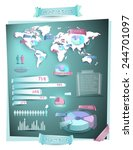 earth infographics with map and ... | Shutterstock .eps vector #244701097