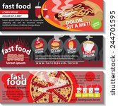 fast food flyer template set  ... | Shutterstock .eps vector #244701595