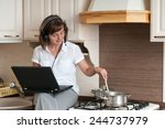 cooking and working from home | Shutterstock . vector #244737979