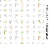 pattern with hearts and flowers ... | Shutterstock .eps vector #244747819