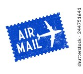 air mail  grunge stamp  vector... | Shutterstock .eps vector #244751641