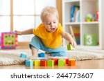 kid toddler playing  wooden... | Shutterstock . vector #244773607