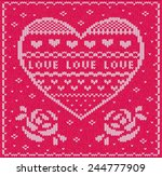 knitted valentine's day card...   Shutterstock .eps vector #244777909
