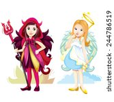angel and imp girls | Shutterstock .eps vector #244786519