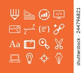 set of simple icons for web... | Shutterstock .eps vector #244796821