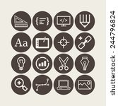 set of simple icons for web... | Shutterstock .eps vector #244796824