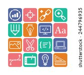 set of simple icons for web... | Shutterstock .eps vector #244796935