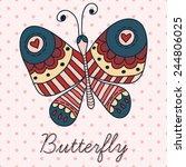 butterfly postcard | Shutterstock .eps vector #244806025