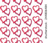 decorative seamless with hearts.... | Shutterstock .eps vector #244806484