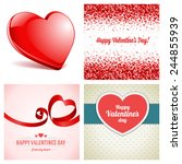 set of happy valentines day... | Shutterstock .eps vector #244855939