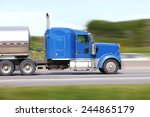 Motion Blur Of Fuel Tanker On...