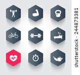 fitness  health  gym trendy... | Shutterstock .eps vector #244873381