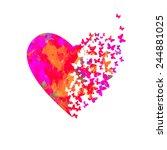 watercolor heart with... | Shutterstock .eps vector #244881025