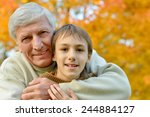 portrait of a grandfather with... | Shutterstock . vector #244884127