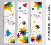 rainbow floral art with a bird...   Shutterstock .eps vector #244891387