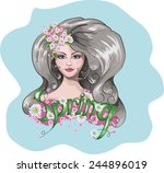 drawing girls spring. vector | Shutterstock .eps vector #244896019