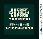 bold pixel alphabet  numbers... | Shutterstock .eps vector #244897201