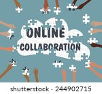 team collaboration concept with ... | Shutterstock .eps vector #244902715