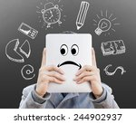 young businessman with tablet...   Shutterstock . vector #244902937