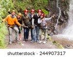 group of adult tourist friends... | Shutterstock . vector #244907317
