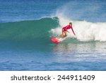 surfer girl on the wave ... | Shutterstock . vector #244911409