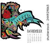 page astrological calendar.... | Shutterstock .eps vector #244929865