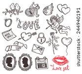 Set Of Love Elements In Sketch...