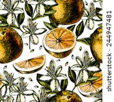 pattern with fruits  flowers... | Shutterstock .eps vector #244947481