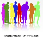 people silhouettes group women... | Shutterstock .eps vector #244948585