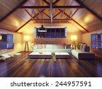 beautiful modern interior loft... | Shutterstock . vector #244957591