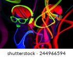 two sexy female disco dancers... | Shutterstock . vector #244966594