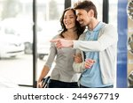 beautiful young couple in the... | Shutterstock . vector #244967719