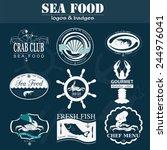 set of vintage sea food logos.... | Shutterstock .eps vector #244976041