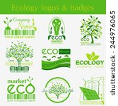 set of ecology  environment and ... | Shutterstock .eps vector #244976065