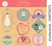 set of vintage wedding and... | Shutterstock .eps vector #244976071