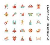 set of flat design pastel cute... | Shutterstock . vector #244980955
