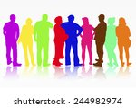 people silhouettes group women...   Shutterstock .eps vector #244982974