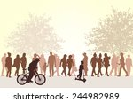 people silhouettes outdoors | Shutterstock .eps vector #244982989