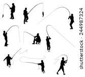 the set of fishermen... | Shutterstock .eps vector #244987324