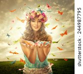 Stock photo beautiful woman surrounds many butterfly 244987795