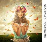 Beautiful Woman Surrounds Many...