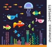 sea life. underwater world.... | Shutterstock .eps vector #244991875