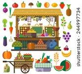food market. vector flat... | Shutterstock .eps vector #244997734