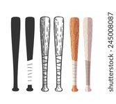 baseball bats set  different... | Shutterstock .eps vector #245008087