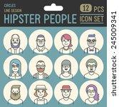 hipster people line design... | Shutterstock .eps vector #245009341
